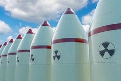 Many nuclear missiles. 3D rendered illustration Royalty Free Stock Image