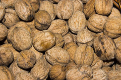 Many nuts in a basket Stock Photography