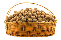 Many nuts in basket Royalty Free Stock Image