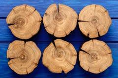 Many oak splits on navy blue background Royalty Free Stock Photos