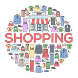 Many object purchased in the shop. Shopping circle abstract background concept. In flat thin lines outline style icons Stock Image