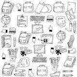 Many object school doodles stock. Vector collection Royalty Free Stock Photography