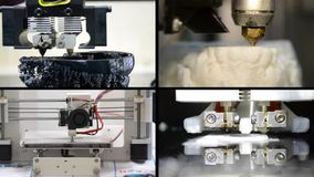 Many objects printed by 3d printer. Multicam split screen. 4 in 1! Many objects printed by 3d printer. Fused deposition modeling, FDM. Progressive modern stock video footage
