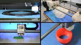 Many objects printed by 3d printer. Multicam split screen. 4 in 1! Many objects printed by 3d printer. Fused deposition modeling, FDM. Progressive modern stock video