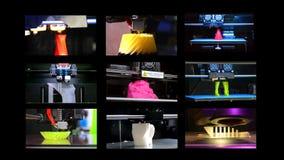 Many objects printed by 3d printer. Multicam split screen. 9 in 1! Many objects printed by 3d printer. Fused deposition modeling, FDM. Progressive modern stock footage