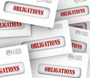 Many Obligations Envelopes Bills Legal Financial Payments Due. Obligations words in envelopes telling or reminding you of financial, legal, regulatory or Stock Photography