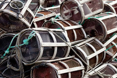 Many octopus traps. Stacked at the port Royalty Free Stock Photo