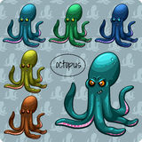 Many octopuses on a gray background Royalty Free Stock Photo