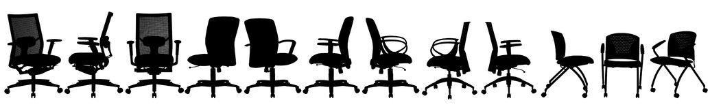 Many office chair on white Royalty Free Stock Photography