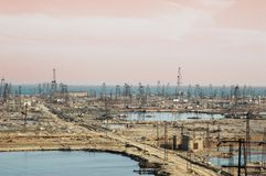 Many oil derricks Royalty Free Stock Photography