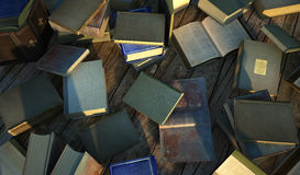 Many old and ancient books, spread over a wooden surface. Royalty Free Stock Photo