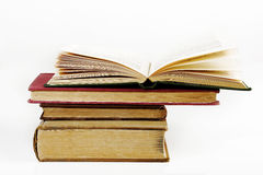 Many old books on white Royalty Free Stock Photo