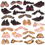 Many old boots on white Royalty Free Stock Images
