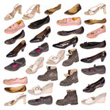 Many old boots on white Royalty Free Stock Image