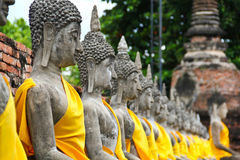 Many old buddhas in thailand royalty free stock image