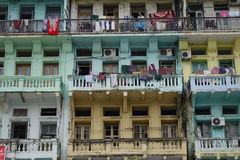 Many old buildings at Yangon downtown Stock Images