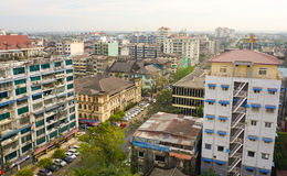 Many old buildings at Yangon downtown Stock Photo