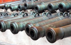Many old cannon barrels in Moscow Kremlin. UNESCO Heritage Site. Royalty Free Stock Photography