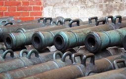 Many old cannon barrels in Moscow Kremlin. UNESCO Heritage Site. Stock Images