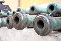 Many old cannon barrels in Moscow Kremlin. UNESCO Heritage Site. Royalty Free Stock Image