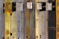 Many old door locks with catches and mechanisms Royalty Free Stock Photos