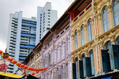 Many old houses at the Chinatown, Singapore Royalty Free Stock Image