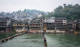 Many old houses on the hill at Fenghuang Ancient Town in Hunan, China Stock Photo
