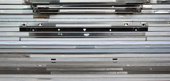 Many old lcd screens. Stack of tft panels from monitors, side vi Royalty Free Stock Photos