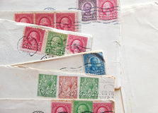 Many old letters, envelopes,  postal stamps Stock Images