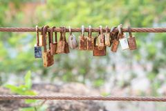 Many old rust key lock with rust iron fence royalty free stock photography