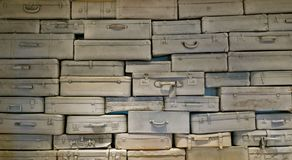 Many old, stacked travel suitcases Royalty Free Stock Photography