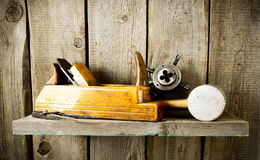 Many old tools ( plane, mallet and others) on a Royalty Free Stock Photos