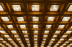Many old vintage lamps wooden ceiling Stock Image