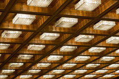 Many old vintage lamps wooden ceiling Stock Photo