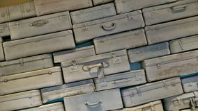 Many old, stacked travel suitcases Royalty Free Stock Photo