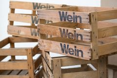 Old wooden empty crates or boxes for wine bottles. Many old wooden empty crates or boxes for wine bottles stock photos
