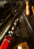 Many old working tools (drill, saw, chisel and Royalty Free Stock Image