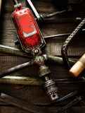 Many old working tools (drill, saw, chisel and Royalty Free Stock Photo
