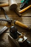 Many old working tools ( hammer, pliers, plane and Royalty Free Stock Photography