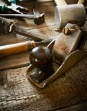 Many old working tools ( hammer, pliers, plane and Stock Images