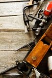 Many old working tools (plane, drill, mallet and Stock Photo