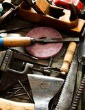 Many old working tools ( ruler, drill, chisel and Stock Images