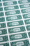 Many one dollar bills side by side Stock Photo