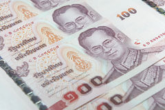 Many of one hundred Baht bills close-up Royalty Free Stock Image