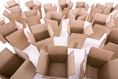 Many open cardboard boxes wide-angle view Stock Photo