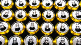 Many Opened canned drinks. Background of cans Royalty Free Stock Photos