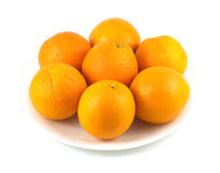 Oranges on white plate. Many oranges on plate  over white Stock Photography