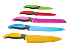 Many original colored knives. On a white background. Royalty Free Stock Photos