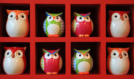 Many owl dolls made by clay Royalty Free Stock Images