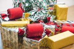 Many packaged gift boxes royalty free stock images